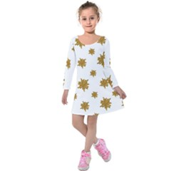Graphic Nature Motif Pattern Kids  Long Sleeve Velvet Dress