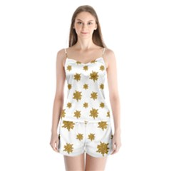 Graphic Nature Motif Pattern Satin Pajamas Set