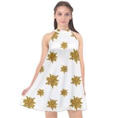 Graphic Nature Motif Pattern Halter Neckline Chiffon Dress
