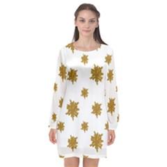 Graphic Nature Motif Pattern Long Sleeve Chiffon Shift Dress