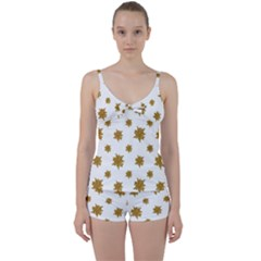 Graphic Nature Motif Pattern Tie Front Two Piece Tankini