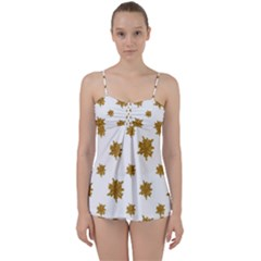 Graphic Nature Motif Pattern Babydoll Tankini Set
