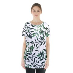 Botanical Leaves Skirt Hem Sports Top