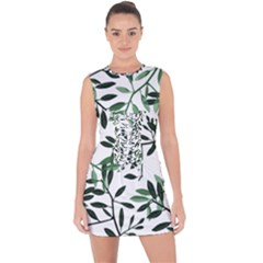 Botanical Leaves Lace Up Front Bodycon Dress