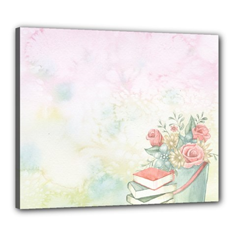 Romantic Watercolor Books And Flowers Canvas 24  X 20