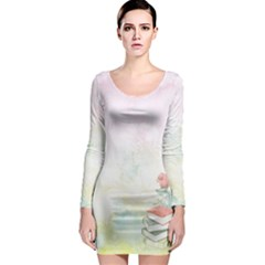 Romantic Watercolor Books And Flowers Long Sleeve Bodycon Dress