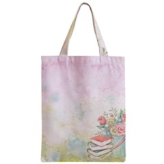 Romantic Watercolor Books And Flowers Zipper Classic Tote Bag