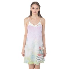 Romantic Watercolor Books And Flowers Camis Nightgown