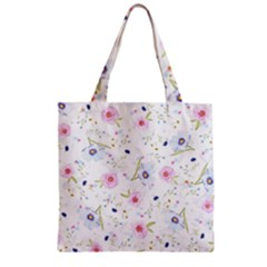 Floral Cute Girly Pattern Zipper Grocery Tote Bag