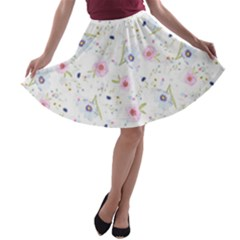 Floral Cute Girly Pattern A Line Skater Skirt