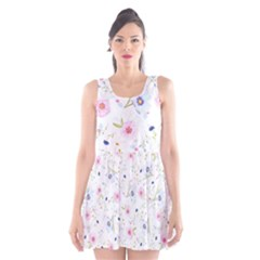 Floral Cute Girly Pattern Scoop Neck Skater Dress