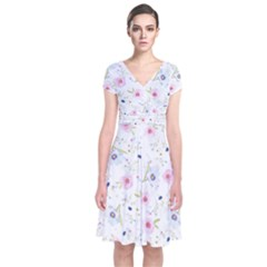 Floral Cute Girly Pattern Short Sleeve Front Wrap Dress