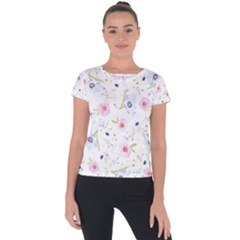 Floral Cute Girly Pattern Short Sleeve Sports Top