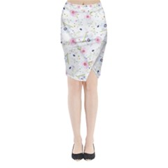 Floral Cute Girly Pattern Midi Wrap Pencil Skirt