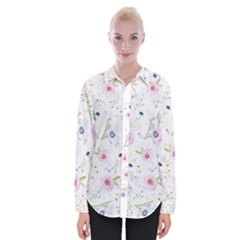 Floral Cute Girly Pattern Womens Long Sleeve Shirt
