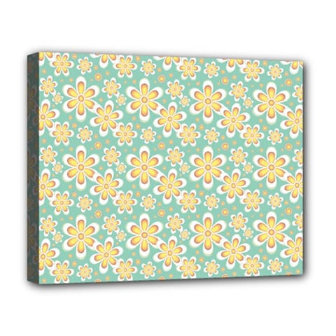Seamless Pattern Blue Floral Deluxe Canvas 20  X 16