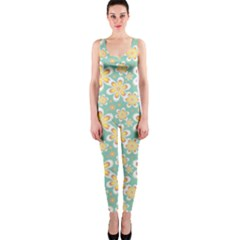 Seamless Pattern Blue Floral Onepiece Catsuit