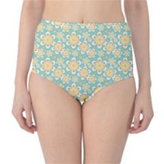 Seamless Pattern Blue Floral High Waist Bikini Bottoms