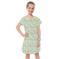 Seamless Pattern Blue Floral Kids  Drop Waist Dress