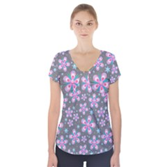 Seamless Pattern Purple Girly Floral Pattern Short Sleeve Front Detail Top
