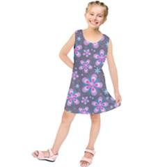 Seamless Pattern Purple Girly Floral Pattern Kids  Tunic Dress