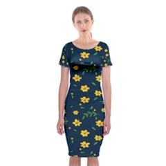 Yellow & Blue Bloom Classic Short Sleeve Midi Dress