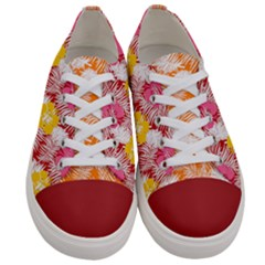 Yellow & Red Hawaii Florals Women s Low Top Canvas Sneakers