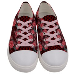 Dark Red Roses Pattern Women s Low Top Canvas Sneakers