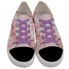 Pinkish Purple Lily Flowers Women s Low Top Canvas Sneakers
