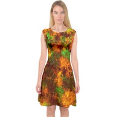 Squiggly Abstract F Capsleeve Midi Dress