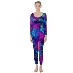 Squiggly Abstract E Long Sleeve Catsuit