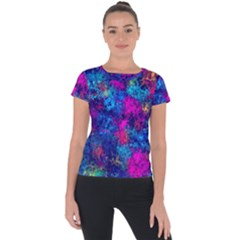 Squiggly Abstract E Short Sleeve Sports Top