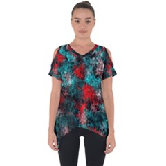Squiggly Abstract D Cut Out Side Drop Tee