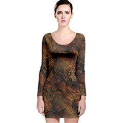 Wonderful Marbled Structure A Long Sleeve Velvet Bodycon Dress