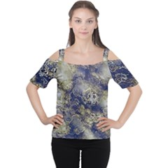 Wonderful Marbled Structure D Cutout Shoulder Tee