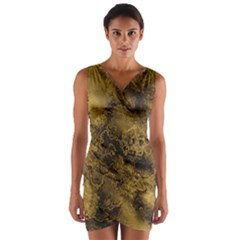 Wonderful Marbled Structure B Wrap Front Bodycon Dress