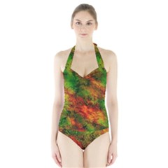 Wonderful Marbled Structure F Halter Swimsuit