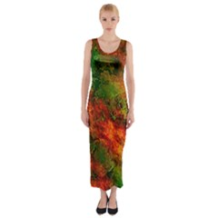 Wonderful Marbled Structure F Fitted Maxi Dress