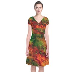 Wonderful Marbled Structure F Short Sleeve Front Wrap Dress