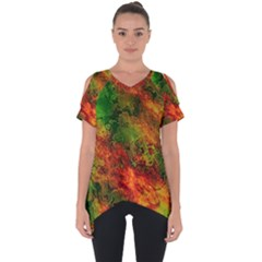 Wonderful Marbled Structure F Cut Out Side Drop Tee