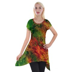 Wonderful Marbled Structure F Short Sleeve Side Drop Tunic