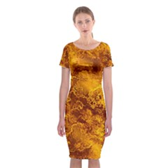 Wonderful Marbled Structure H Classic Short Sleeve Midi Dress