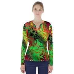 Awesome Fractal 35i V Neck Long Sleeve Top