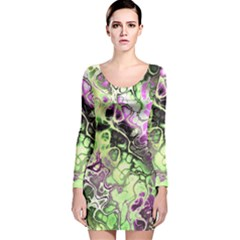 Awesome Fractal 35d Long Sleeve Velvet Bodycon Dress
