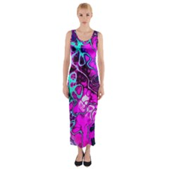 Awesome Fractal 35b Fitted Maxi Dress