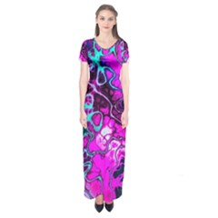 Awesome Fractal 35b Short Sleeve Maxi Dress
