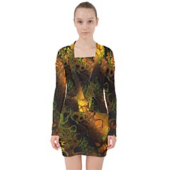 Awesome Fractal 35e V Neck Bodycon Long Sleeve Dress