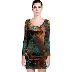 Awesome Fractal 35f Long Sleeve Bodycon Dress