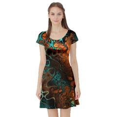 Awesome Fractal 35f Short Sleeve Skater Dress