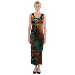 Awesome Fractal 35f Fitted Maxi Dress
